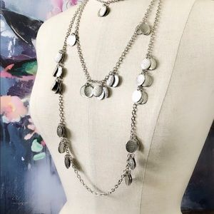 ANTHROPOLOGIE layered silver teardrop necklace NWT